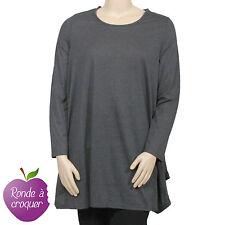Grande taille -Long Tshirt Neslay noir/gris/kaki idéal tunique 44 46 48 50 52 54
