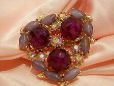 Vintage 1950's Purple Art Glass Red Lucite Rhinestone Brooch  378n