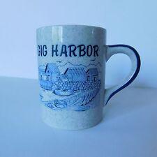 Gig Harbor Coffee Cup Sailboats Lighthouse Shells Seagulls Blue White Mug 9 oz