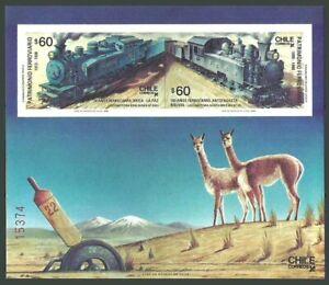 CHILE 1988 TRAINS RAILWAYS BLUE TRAIN WILDLIFE LLAMAS M/SHEET MNH
