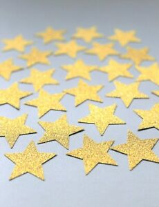 50 GOLD GLITTER STARS OR SILVER STARS SPARKLY CRAFTS CARD EMBELLISHMENTS