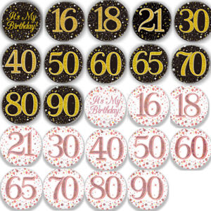 "3"" Birthday BADGE All Milestone Ages Black Sparkle Rose Gold Party Accessory"