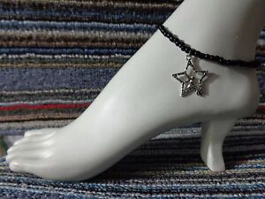STAR FAIRY silver tibet alloy charm ankle bracelet beads anklet stretchy