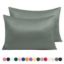 Satin Silk 2 Pcs Pillowcases Pillow Case Cover King Queen Standard Pillowcase