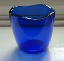 Blue glass ornament with wavy rim