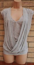 WAREHOUSE WHITE BLACK CHECK TARTAN CHECKED GRECIAN BLOUSE TUNIC TOP CAMI 10 S
