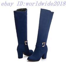 Popular Damen Schuhe Stiefel Dick Absatz Reißverschluss Rund Gr.34-48 Einfach
