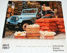 Vtg Industrias Kaiser Argentina 1967 Calendar IKA Torino/Renault/Jeep/Rambler+++