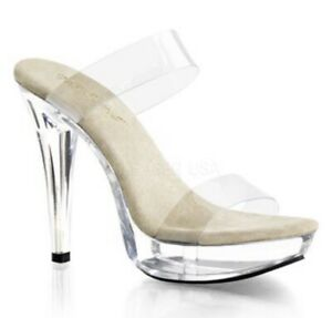 "5"" CLEAR PLEASER FABULICIOUS COCKTAIL HIGH HEELS GLASS SLIPPERS STILETTO SZ 11"