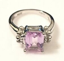 Engagement Ring: Genuine Natural Emerald Cut Pink Amethyst Sterling Silver Ring