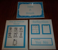 3 Laminated Take a Break Posters.  Daycare Behavior Management  Accessories.