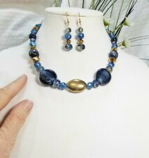 Indigo Blue and Brass Bead Choker Necklace and Earring Set