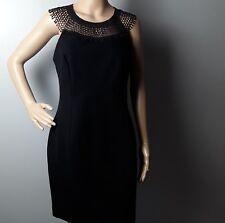 NEW EX FRENCH CONNECTION WOMEN'S AMBOSELI BEADING BODYCON BLACK DRESS UK14