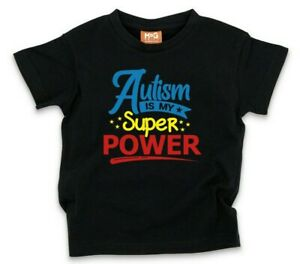 Autism Is My Super Power T-shirt Funny Gift Tee Awareness Adult Childrens Top