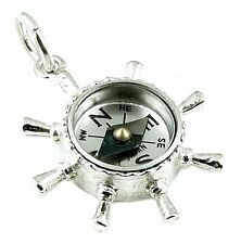 STERLING SILVER SHIP'S WHEEL COMPASS FOB CHARM