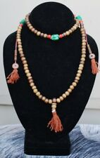 Long Tibetan Turquoise Coral 108 Yak Bone Prayer Beads 3 Tassel Mala Necklace