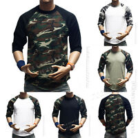 Men 3/4 Sleeve Camo Baseball T-Shirt Raglan Sports Hipster Crew Neck Casual Tee