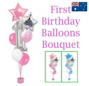 1 YEAR OLD PARTY SUPPLIES SILVER FOIL FIRST HAPPY BIRTHDAY BOUQUET BALLOONS