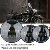 """2x 4.5"""" LED Nebelscheinwerfer + 7 Zoll LED Scheinwerfer für Harley Davidson"""