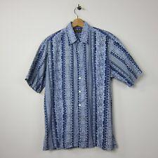 Vtg Tori Richards Honolulu S USA Blue Elaborate Design Front Pocket Aloha Shirt