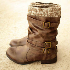 Womens Flat Mid Calf Knited Boots Ladies Buckle Combat Army Biker Shoes Size 4~7