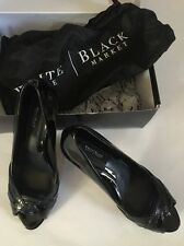 WHITE HOUSE BLACK MARKET Snake Embossed Leather Peeptoe Heel Pump Shoe 6.5 WHBM