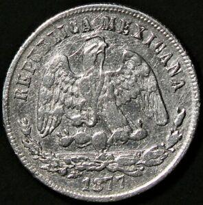 1877 ZsS Mexico 50 Centavos Zacatecas Silver KM#407.8 Cleaned #13244