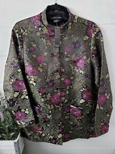 Robert Louis Silk Blend Kimono Jacket Coat Floral Asian Oriental Medium NWT