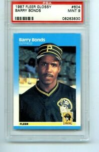 1987 FLEER GLOSSY BARRY BONDS ROOKIE PSA 9 MINT #604 PIRATES GIANTS ICONIC CARD!
