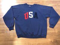 Vintage 90's USA Logo Crew Sweatshirt XL Hanes Patriotic