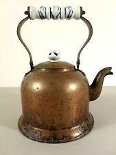 Vintage Metal Tea Pot Kettle With Lid & Ceramic Porcelain Handle & Knob