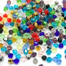 800 X 4mm MIXED COLOUR ACRYLIC TRANSPARENT FACETED BICONE SPACER BEADS Bi4