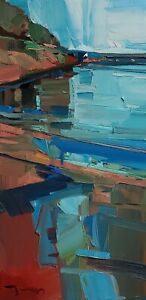 JOSE TRUJILLO Oil Painting IMPRESSIONISM CONTEMPORARY VERTICAL MODERN SIGNED NR