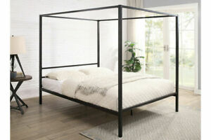 Four Poster Black Metal Bed Frame Single Small Double Double King Size    BSD