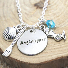 The Little Mermaid Dinglehopper Fork Charm Pendant Silver Plated Necklace~Disney