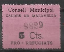 5050-SELLO GUERRA CIVIL REFUGIADOS CALDES MALAVELLA 5 CENTIMOS,POLITICAL LABELS