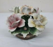 "Vintage Italian NUOVA 4.5"" CAPODIMONTE 5 Roses Centerpiece Floral Arrangement"