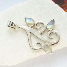 Mondstein, blau weiß Tribal, Edelstein Design Anhänger, 925 Sterling Silber neu