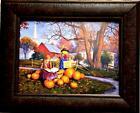 Robert Duncan Pumpkins for Sale Children Fall Art Print Framed 21.5 x 17.5
