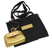 Auth Salvatore Ferragamo Gancini Mini Pouch Eco Bag Gold Leather AK25950h