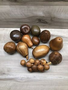 Vintage Mid-Century 12 Wooden Pieces Fruit