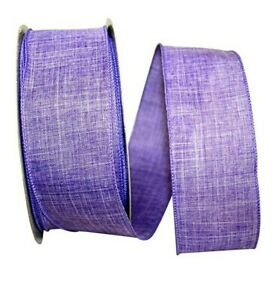 """1 metre 63mm (2.5"""") wide LILAC LINEN BLEND WIRED EDGE RIBBON BOWS WREATHS"""