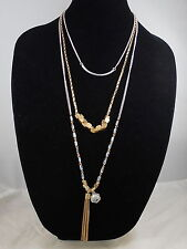 Kenneth Cole New York Two Tone Beaded Tassel Convertible 3 Layer Necklace $52