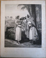 Aquatinte, Rebecca à la fontaine, Orientalisme, Jazet d'après Vernet, 1836