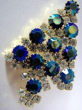 Vintage Aurora Borealis Christmas Tree Pin Signed Attruia Sparkling Rhinestone