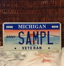 Michigan 1990s Sample Automobile License Plate US ARMY Veteran SAMPL Blue Letter
