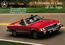 MERCEDES BENZ 107 R107 CONVERTIBLE SOFT & HARD TOP USE-CARE-OPERATION MANUAL pdf