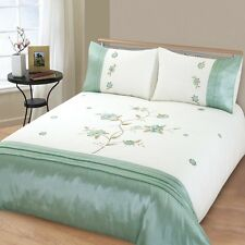 DOUBLE BED SIZE DUVET QUILT COVER SET ANGELICA / GREEN FLORAL / FLOWERS