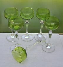 6 Jugendstil Weingläser Stängelgläser Klarglasstiel und Kuppa aus Uranglas