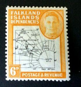 Falkland Island Dep.: 1946 , 6d map, dot in 'T' variety, SG G14a, Mint